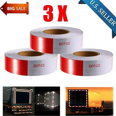 """3PCS 2""""x150' Red  White Reflective Conspicuity Car Trailer Safe Tape Approved BT"""