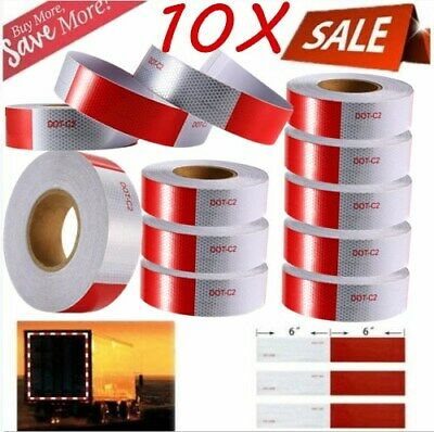 """10PACK 2""""x150' Red+White Reflective Conspicuity Car Safe Tape Approved DOT-C2 BT"""