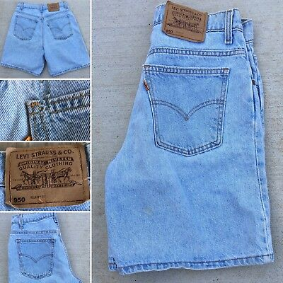 """Vintage Levis Denim Shorts 550 Relaxed Fit Made In USA 11 31"""" Waist Orange Tab"""