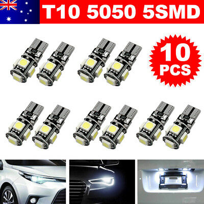 10X CANBUS T10 Wedge 5SMD Parker Number WHITE Plate LED Bulbs W5W 194 168 131 OZ