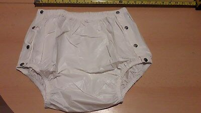 "Adult Baby Milky White Snap Plastic Pants In Pvc. Size M Medium, 26""-30"" Waist"