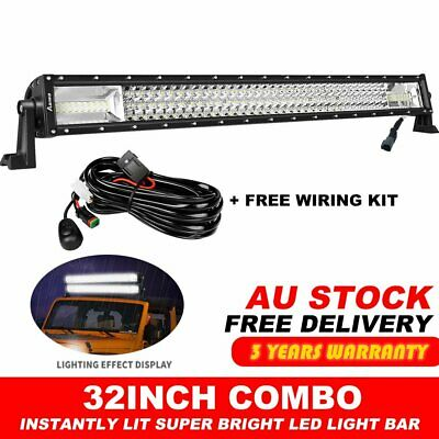 32Inch Tri-Row LED Light Bar Spot Flood Driving For Ford Offroad Lamp 29/31''