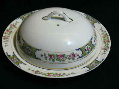 ANTIQUE HAND PAINTED Nippon PORCELAIN PANCAKE WARMER w/ LID CHEESE DISH
