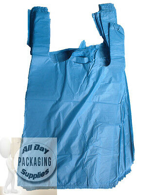 "200 BLUE POLYTHENE VEST CARRIER SHOPPING BAGS SIZE 11 X 17 X 21"" PLASTIC 18Mu"