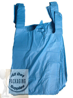"100 BLUE POLYTHENE VEST CARRIER SHOPPING BAGS SIZE 11 X 17 X 21"" PLASTIC 18Mu"