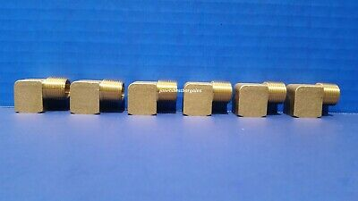 Solid Brass Street Pipe 90 Degree Elbow 3/8 Inch Male Female NPT Air Fuel 6 Pack