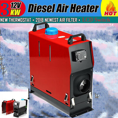 12V 3KW 3000W LCD Air Diesel Heater Chauffage Voiture Switch Single Hole Heater$