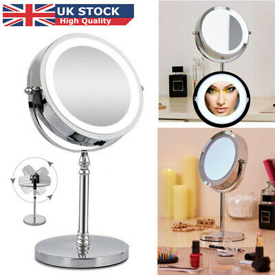 "7"" 10x Magnifying Mirror with LED Lights for Make Up Shaving Vanity Illuminated"