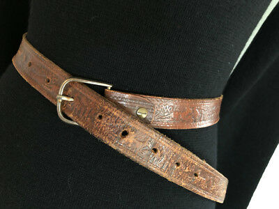 Vintage BELT leather brown silver buckle embossed 'Kangaroo' pattern Australiana