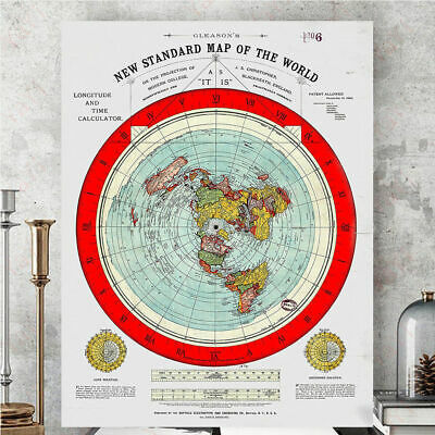 Flat Earth Decoration Map the world map Art Silk/Canvas Poster Wall painting