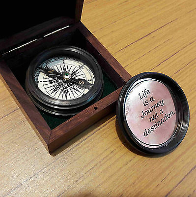 Nautical Brass Compass Antique With Wooden Box Marine Collectible Gift Item