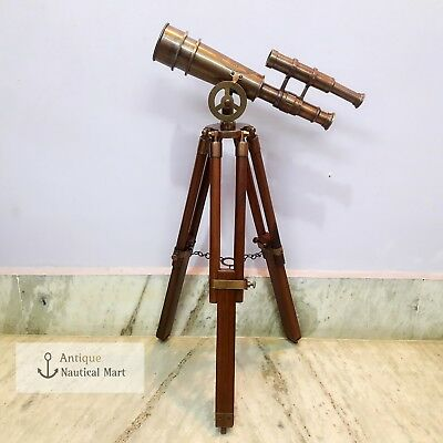 Brass Telescope Double Barrel With Wooden Tripod Antique
