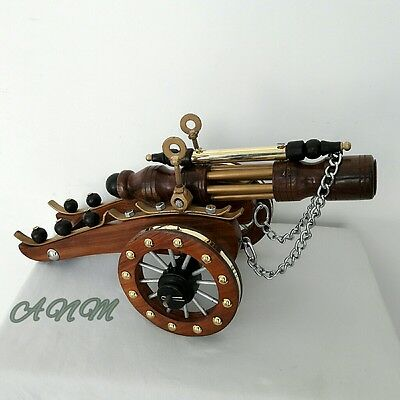 Wood Brass Cannon Vintage Collectible Home Decorative Gift