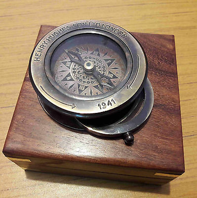 Antique Brass Flip Out Compass Magnifier With Wooden Box Marine Collectible Item