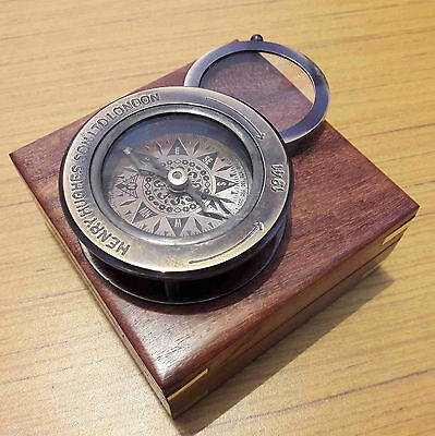 Brass Flip Out Compass Antique Magnifier With Wooden Box Marine Gift