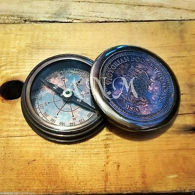 Antique Brass Pocket Compass Copper Dial Vintage Item