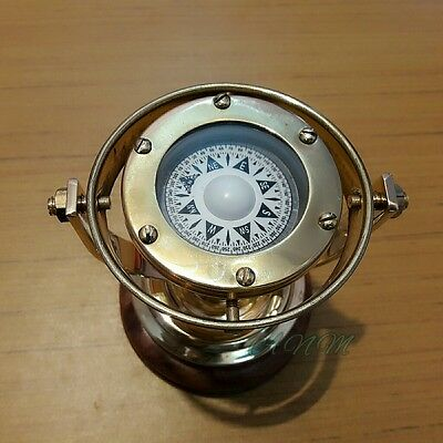 Antique Gimbled Brass Compass With Stand Wooden Base Marine Item Gift