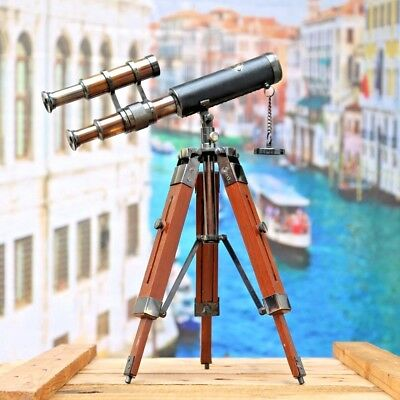 Brass Antique Telescope Double Barrel With Vintage Tripod Stand Nautical Decor