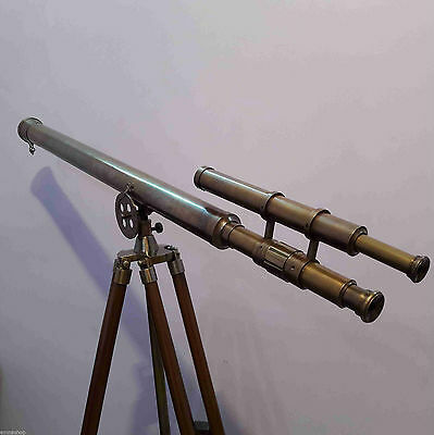 Antique Brass Double Barrel Telescope With Heavy Tripod Stand Maritime