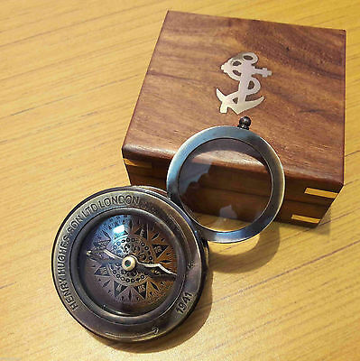 Flip Out Compass Antique Magnifier With Wooden Box Marine Gift
