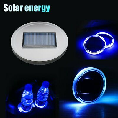 Car Solar Cup Holder Bottom Pad Mat LED Light Cover Trim Atmosphere Lamp QC