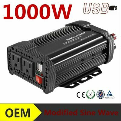 1000W DC 12V to AC 110V Car Auto Power Inverter Charger Converter For YT