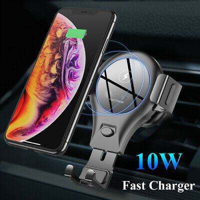 Qi Wireless Charger Car Air Vent Mount Holder For iPhone XS Max Samsung S10 S9+