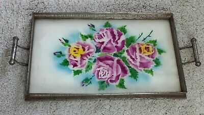 VINTAGE GLASS COCKTAIL SERVING TRAY HAND PAINTED ART MODERN 1900's-40's