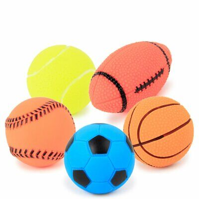 Pet Puppy Dog Squeaky Toy Fetch Toy Sports Ball Football Toy Squeeze Chew Toy -U