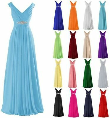 Chiffon Long Wedding Bridesmaid Dresses Formal Party Ball Prom Gown Dresses 6-24