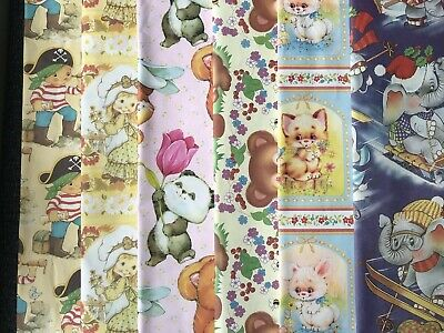 Vintage 1970s - Children's Gift Wrapping Paper - 6 Sheet Bundle