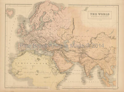 World Known To Ancients Antique Map Black 1867 Original