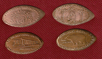 Williams Az Visitor Center - Elongated Set Of (4) Pennies Pressed on All Copper