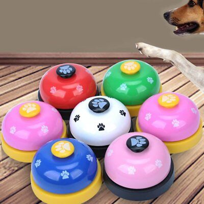Pet Toy Training Called Dinner Small Bell Footprint Pattern Ring Dog Toys #K