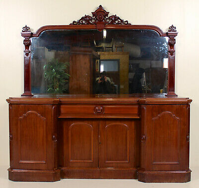 Large Antique Victorian Sideboard Mirrored Credenza Buffet Mahogany 19th Century