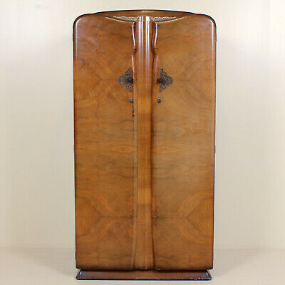 Art Deco Walnut Compactum Wardrobe Vintage Gents Armoire