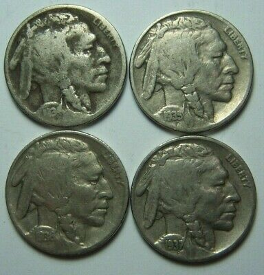 Lot of 4 U.S.A. Buffalo Nickels 5 Cents 1934 1935 1936 and 1937 Ref#503