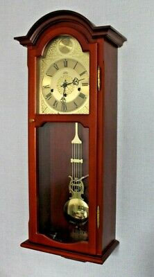 Ams German Westminster Chiming Wall Clock In Solid Wood Case