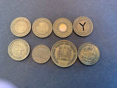 Eight various transit system  coin including subway