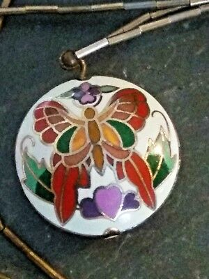 Vintage 1960'S Cloisonne Butterfly Necklace Double Sided Gold-Tone Collector
