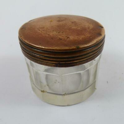ANTIQUE small GLASS INKWELL / container lidded VINTAGE
