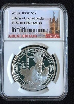 2018 Great Britain 1 oz PROOF Silver Britannia 2£ | Oriental Border |NGC PF69 UC