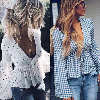 Womens Ruffle Frill Side Wrap Over V-Neck Ladies Long Sleeve Cropped Party Top