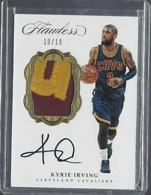 cf08e415390a Kyrie Irving 2016-17 Flawless Gold Nameplate 2 Color Patch On Card Auto  D