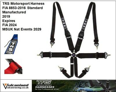 TRS Magnum 6 Point HANS Saloon Car / Race FIA Approved Harness BLACK