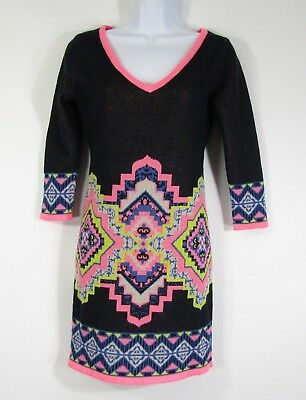 5320aafdf94 Flying Tomato Sweater Dress Size Small Mini Short Tribal 3 4 Sleeve Pink  Blue