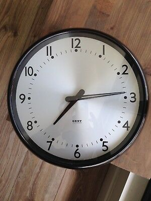 "Gent of Leicester circa 1930s Factory School slave 15"" clock battery converted"