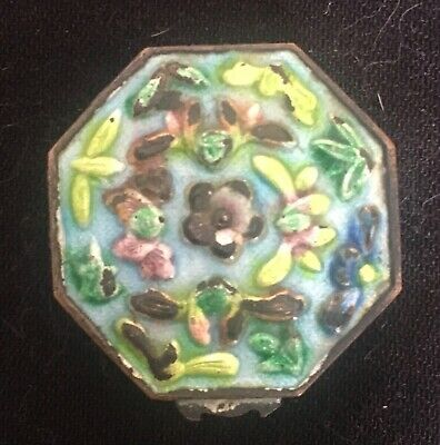 RARE Mini Cloisonne Hinged Trinket or Pill Box Stamped China w/ Error on Bottom