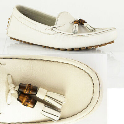 2d082adabd0 Sz 40 NEW  595 GUCCI WOMANS Off-White Leather BAMBOO TASSLE Summer LOAFERS  Flats