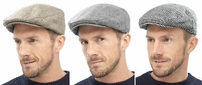 Tom Franks Mens Traditional Flat Cap Grey Brown Check White M/L or L/XL NEW
